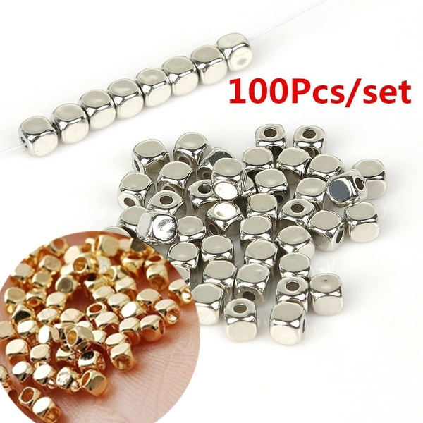 100pcs Big Hole Antique Gold Silver Metal Loose Spacer Beads For Jewelry Finding