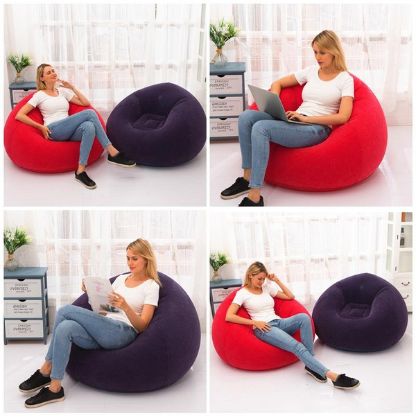 Sofa Sack Bean Bags Inflatable Flocking Sofa Single Lazy Couch Foldable Outdoor Leisure Sofa Bed