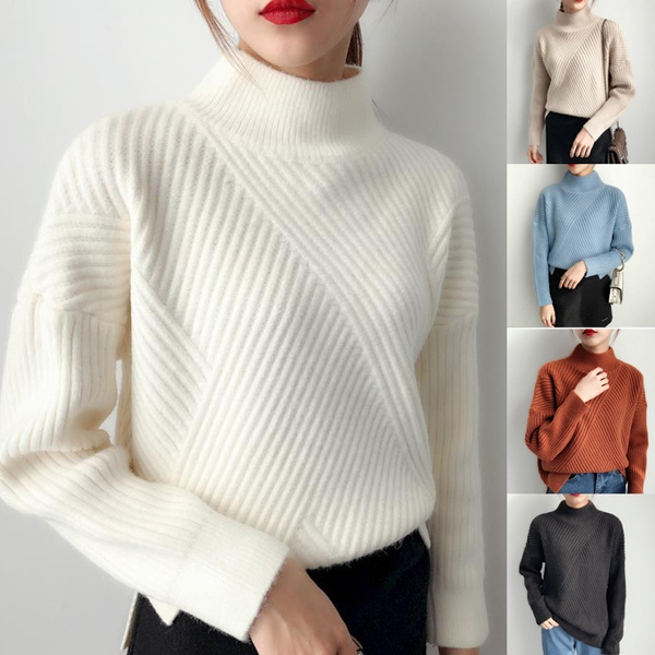 New Style Winter Fashion Women's Thick Wool Knitted Knot Pullover Comfortable Turtleneck Sweater