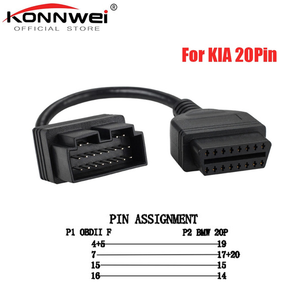 20pin to 16pin OBD2 OBDII DIAGNOSTIC PLUG ADAPTER CONNECTOR CABLE for KIA