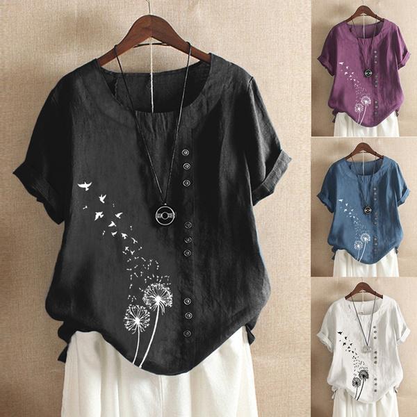 shirtsforwomen, Plus Size, Floral print, Sleeve
