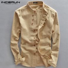 khakishirt, slim, cottonlinen, Dress Shirt