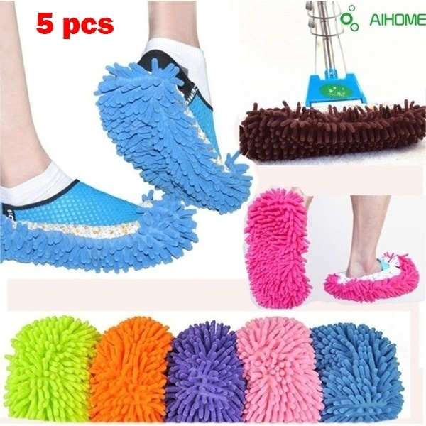 Multifunctional Chenille Fibre Washable Dust Mop Slippers Cleaning Shoes  Women's Fashion Shoes 5 PCS