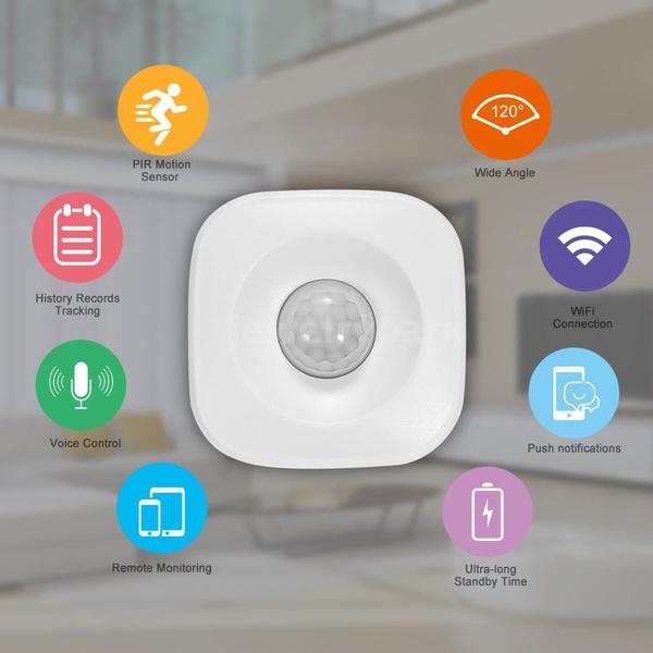 WIFI PIR Motion Sensor Wireless Passive Infrared Detector Security Burglar  Alarm Sensor Tuya APP Control Compatible with Alexa Google Home IFTTT Smart