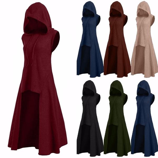 Women New Sleeveless Medieval Vintage Hooded Clothes Gothic Fantasy  Asymmetrical Dress Renaissance Cosplay Dresses Plus Size S-5XL