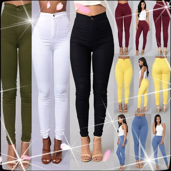 Women's Pencil Stretch Denim Skinny Jeans Pants High Waist Slim Jeans Trousers