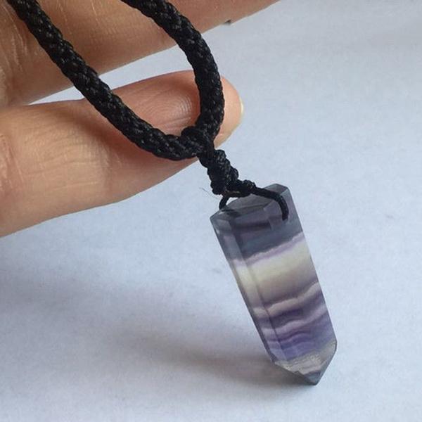 Healing Stone Reiki Pendant Necklace Crystal Quartz Natural Fluorite Wand