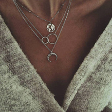 clavicle  chain, punk necklace, Jewelry, mapnecklace