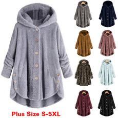 fur coat, Fleece, Plus Size, hooded
