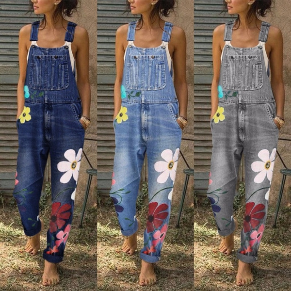 Plus Size, Ladies Fashion, denim overalls women, embroideryflower