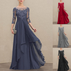 34sleeve, A-line, motherofthebridedre, Evening Dress
