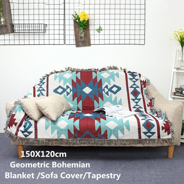 Tribal ethnic geometric Aztec Navajo blanket throw rugs sofa art decor bohemian