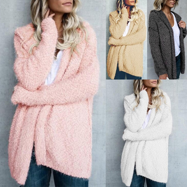 Womens Hooded Solid Long Sleeve Cardigan Loose Warm Long Knit Sweater Coat Zsell