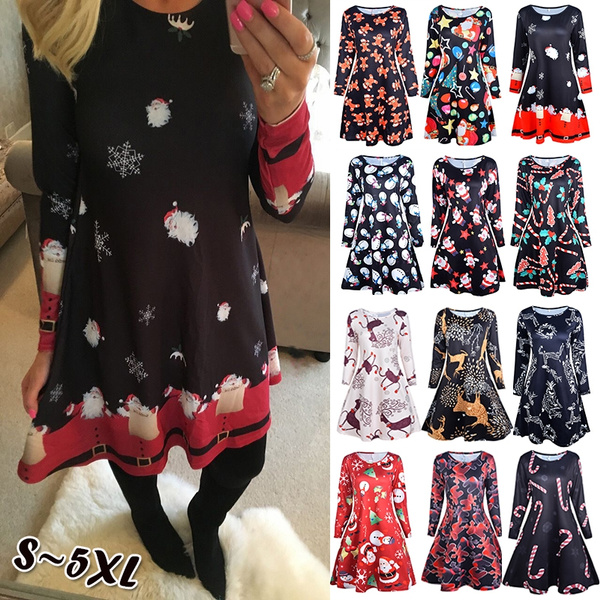 fashion women, Plus Size, Christmas, Sleeve