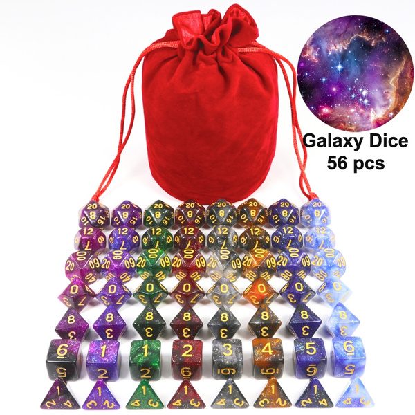 56 Pcs Dice Mysterious Universe Color Toys & Game Board Game Rpg With Bag by Wish
