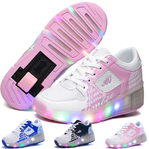 Children Glowing Sneakers Kids Roller Skate Shoes Girls Boys Sneaker with Wheels