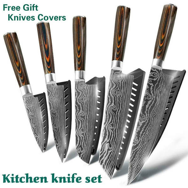 XYj Kitchen Knife Set japanese knife sets Damascus Kitchen Knife Kitchen  Knife Chef Knives Japanese 7CR17 440C High Carbon Stainless Steel Sanding  ...