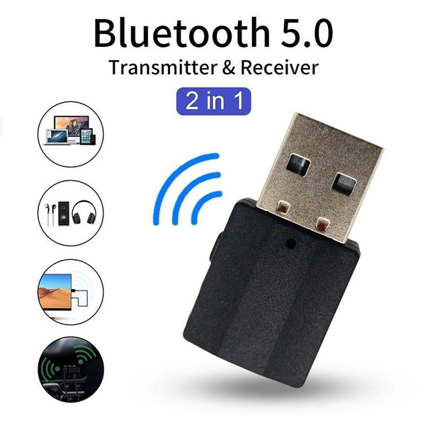 2 in 1 USB Bluetooth 5.0 Transmitter Stereo Receiver AUX Audio Adapter TV//PC//Car