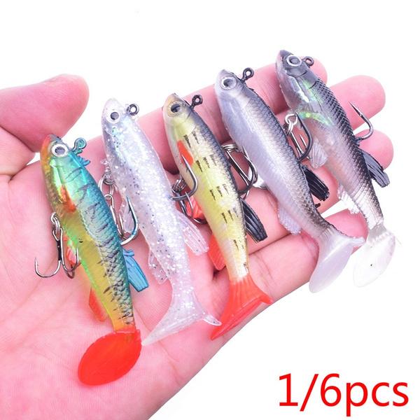 Shad Silicone  sea fly fishing Lead Head hook worm  Minnow Lure Soft  bass Bait
