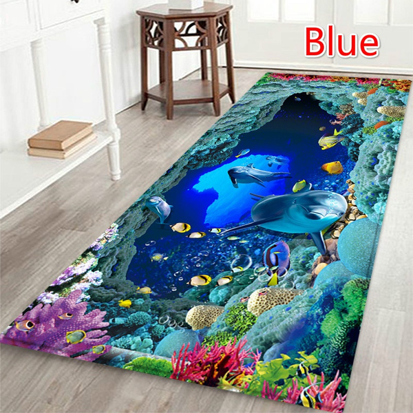 Wish   50*80cm/60*180cm Blue Ocean Door Mat Kitchen Non-slip Floor Mats Bathroom Area Rug Carpet  6 Styles
