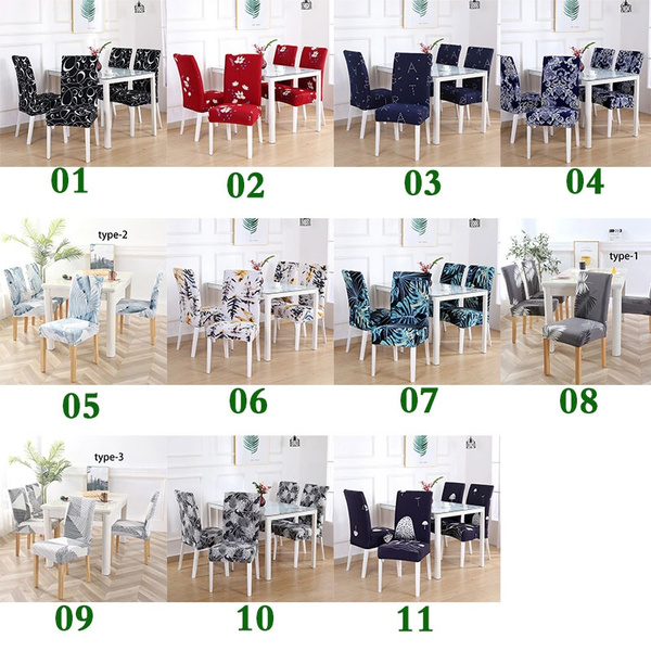 Wish | 1/2/4PCS  Elastic Restaurant Chair Cover Solid Color Home Living Dining Chair Set Spandex Elastic Restaurant Chair Cover Slipcover