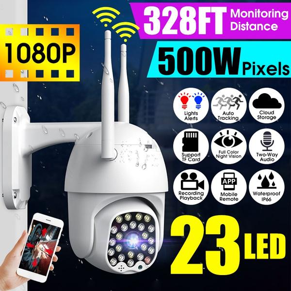szczegółowe zdjęcia dobra sprzedaż tanie z rabatem [23LEDs, 5.0MP, 328ft Vision] Dual 5DB Antennas HD 1080P Outdoor Waterproof  Wireless WiFi IP Camera 500W Pixel Full Color Night Vision PTZ Smart Home  ...