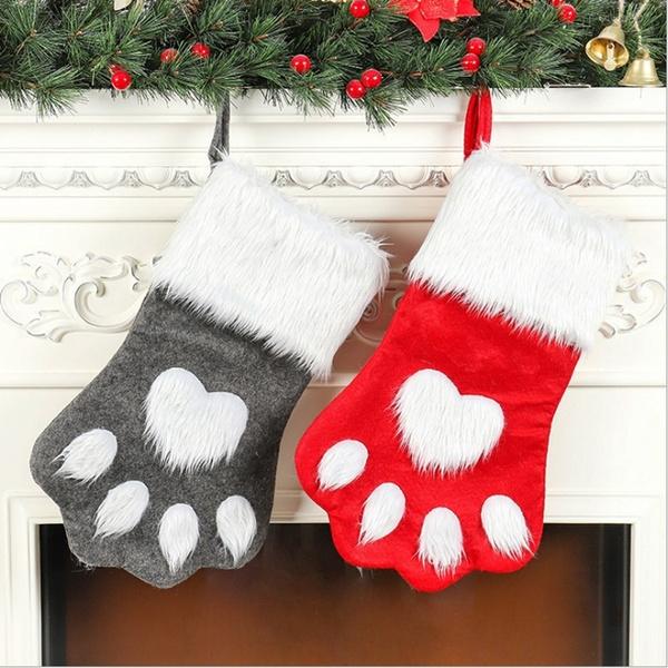 Christmas Gift Bags Diy.1pc Christmas Gift Bags Diy Pet Dog Cat Paw Stocking Socks Xmas Tree Hanging Pendant Toy Doll Gifts Candy Bag