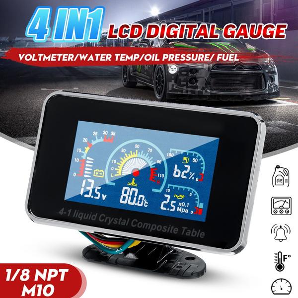 Digital LCD Car Motorcycle Water Temperature//Oil Pressure//Fuel//Voltage Gauge Set