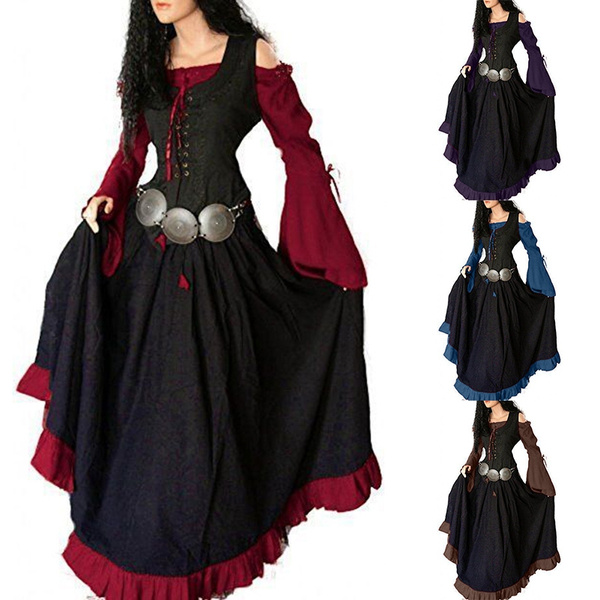 Retro Women Fashion Long Sleeve Off Shoulder Medieval Renaissance Gothic  Dresses Cosplay Costume Casual Lace Up Loose Plus Size Gown Dress S-5XL