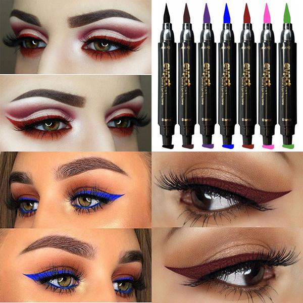 Double Head Waterproof Eyeliner Pen Brand Evpct 1 Pcs Charming Cat Eye Winged Eyeliner Sexy Eye Cosmetic Seal Stamp Wing Tool Eye Makeup 7 Colors