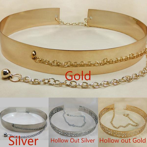 Gold Silver Women Full Metal Waist Plate Chains Waistband Metallic Belt Bhbk