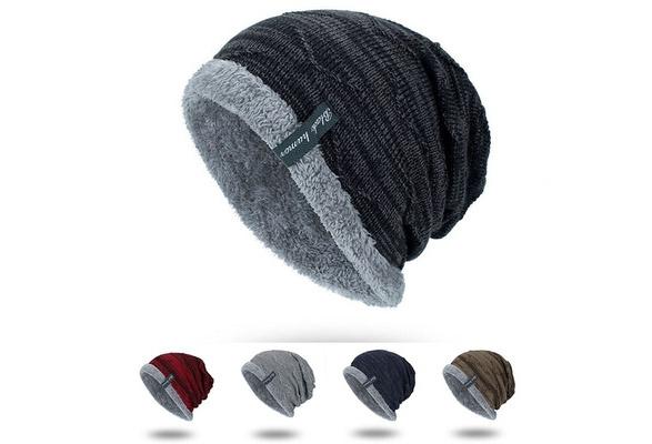 Men's Striped Ribbed Slouchy Knit Beanie Winter Hat Warm Work Cap Soft Toboggan