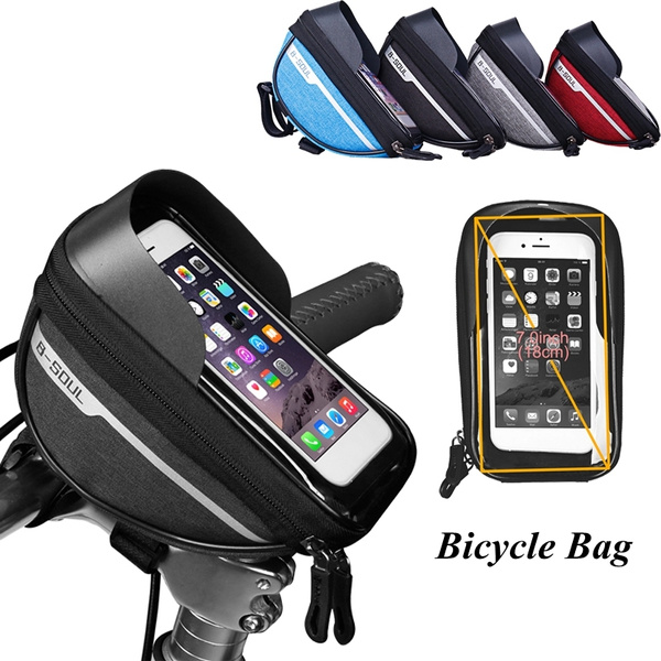 Polyester Mountain Bike Waterproof Bag Touch Screen Smart Phone Stand Pannier