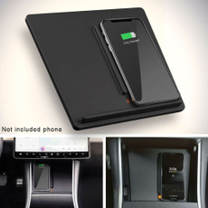 Dual Phones Charging Black ETIAL Wireless Charger for Tesla Model 3 Center Console Charging Pad with Dual USB Ports