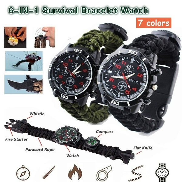 Hot!Rope Paracord Survival Bracelet Flint Fire Starter Compass Whistle Outdoor