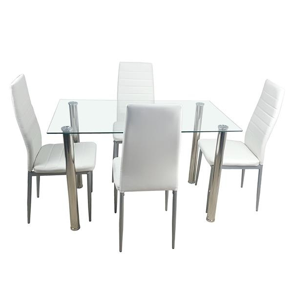 10cm Dining Table Set Tempered Gl With 4pcs Chairs Transpa Creamy White