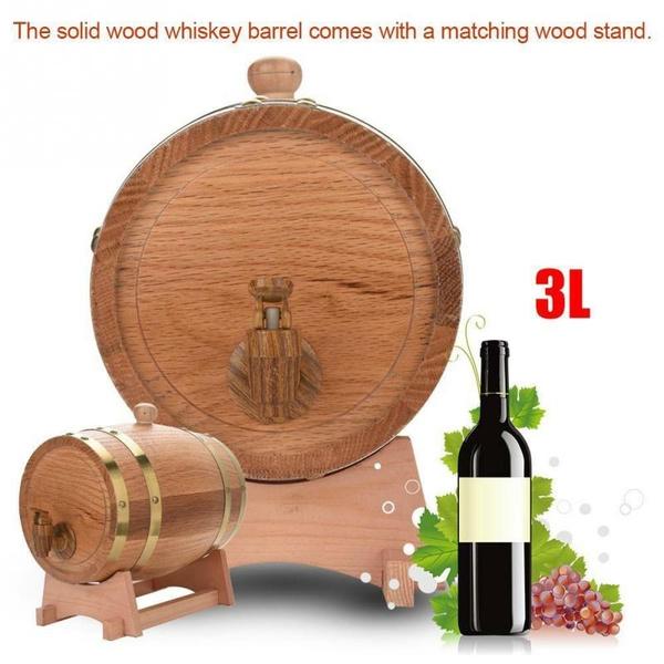 Oak Barrel 5L Beer Wine Vinegar Vintage Wood Oak Wine Dispenser Timber with Wood Stand for Storing Whiskey
