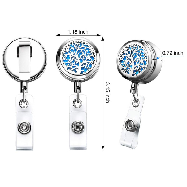 Essential Oil Diffuser Retractable Badge Reel Clip For ID Holder W Steel BLUE.