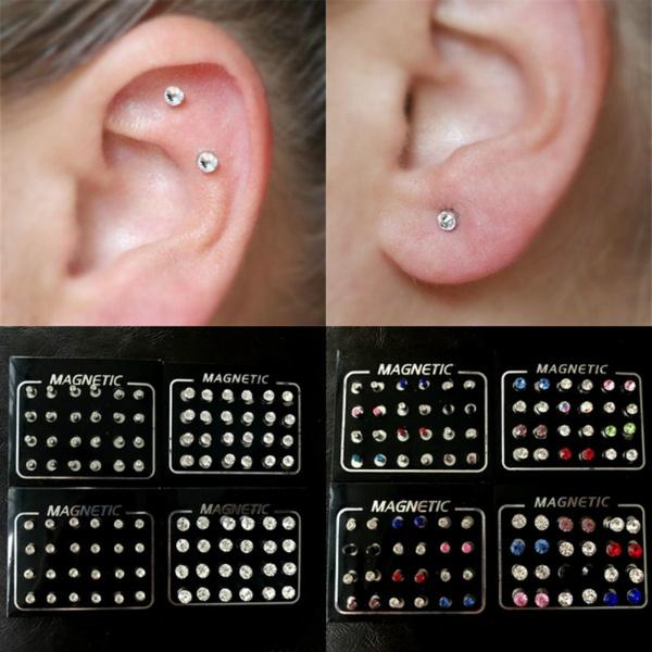 12pair 24pcs Male And Female Models Magnetic Earrings Fake