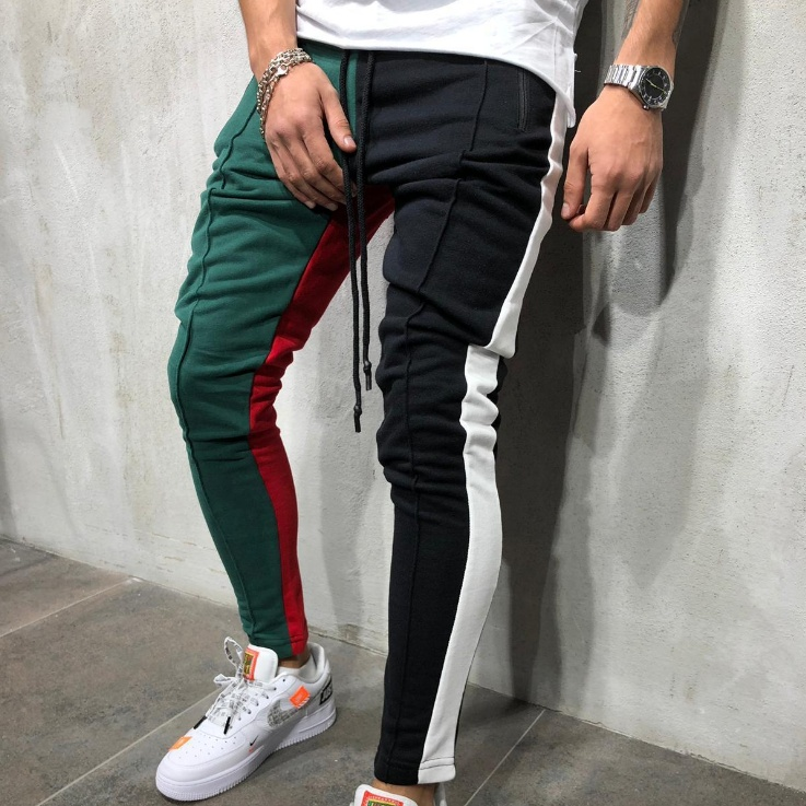 Men's Spring and Autumn Explosions Casual Sports Pants Hip Hop Fitness Stitching Color Matching Trousers