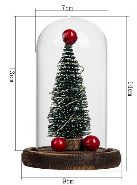 Wish | Xmas Tree Christmas LED Light Christmas Gifts LED Small Night Lights Home Desktop Decoration Glass Cover Christmas Tree