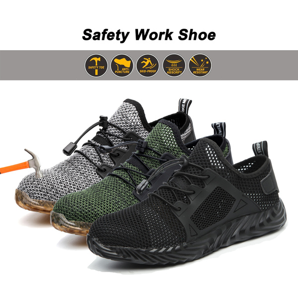 Mens Womens Safety Shoes Steel Toe Work Boots Lightweight Hiking Trainers Shoes