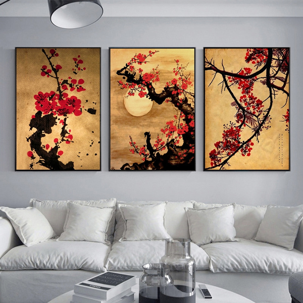 3pcs Set An Style Cherry Blossom Flower Tree Oil Painting On Canvas Oriental Home Decor Wall Art Vintage Anese Mural