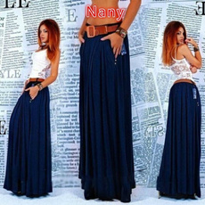 Summer, long skirt, Plus Size, jupelongue