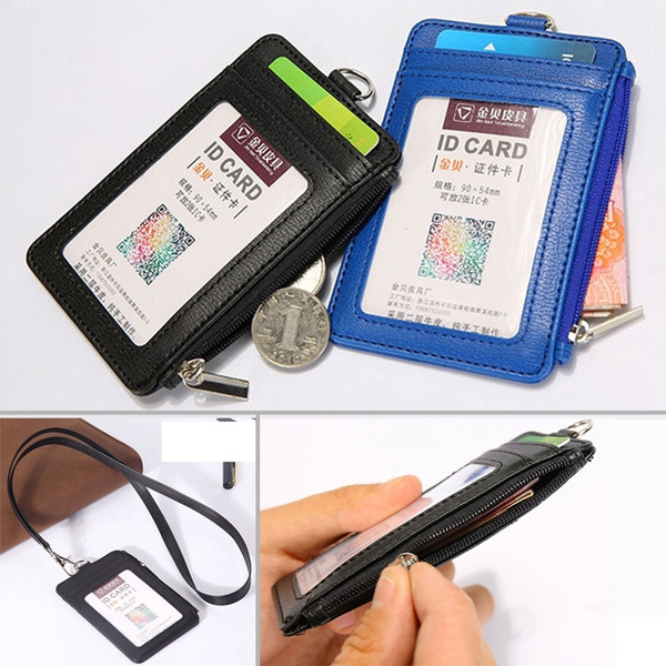 New Leather Neck Strap ID Badge Card Holder Pouch Wallet Black Tag Press Pass