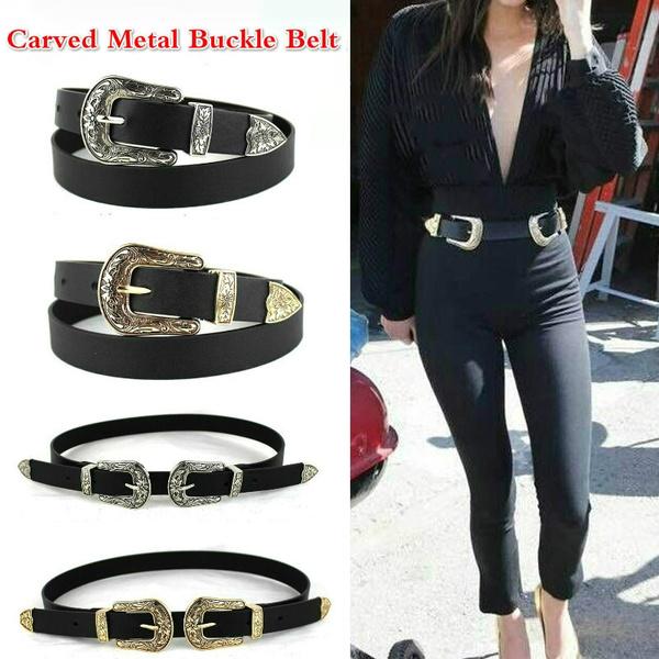 Double Buckle Women Black Leather Belt Western Cowgirl Waist Belts Metal Buckles