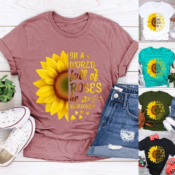 lettersprint, sunflowertshirt, Shorts, Necks