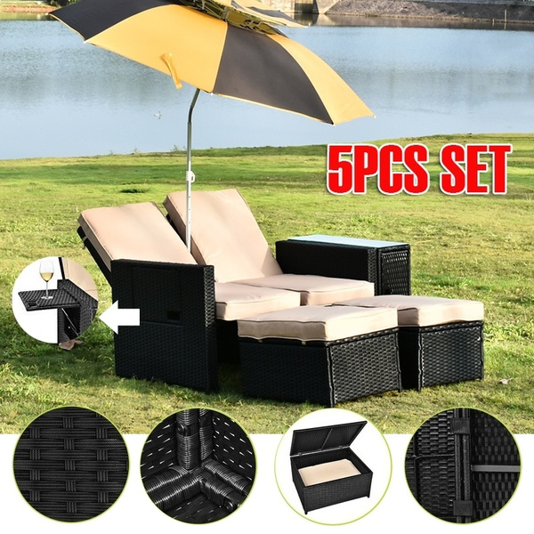 Strange 5Pcs Patio Wicker Loveseat Outdoor Rattan Sofa Set With Cushion Adjustable Lounge Chair With Ottoman Footrest Wicker Furniture For Garden Patio Ibusinesslaw Wood Chair Design Ideas Ibusinesslaworg