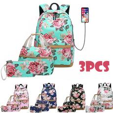 Laptop Backpack, Shoulder Bags, School, Flowers