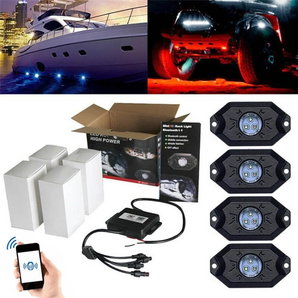 MICTUNING 4 Pod RGB LED Rock Lights Offroad Music Wireless Bluetooth Control ATV